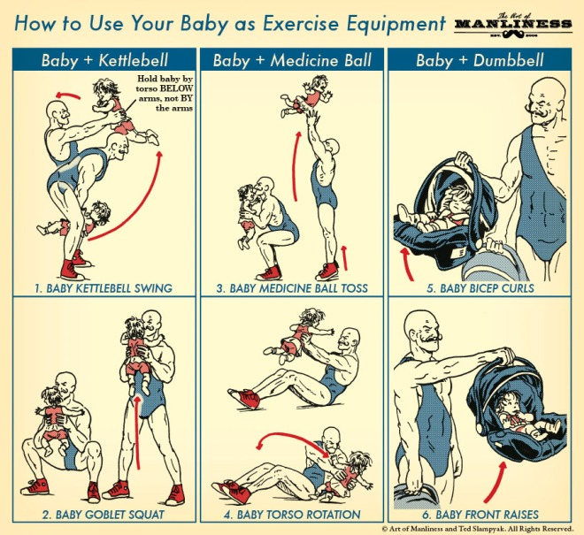 found at: http://www.artofmanliness.com/2014/12/08/baby-exercise-equipment/