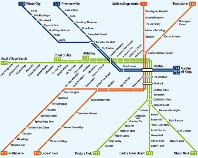Metro Map for the Stockholm T-Bana, translated into English.  From http://www.mappery.com/stockholm-metro-map
