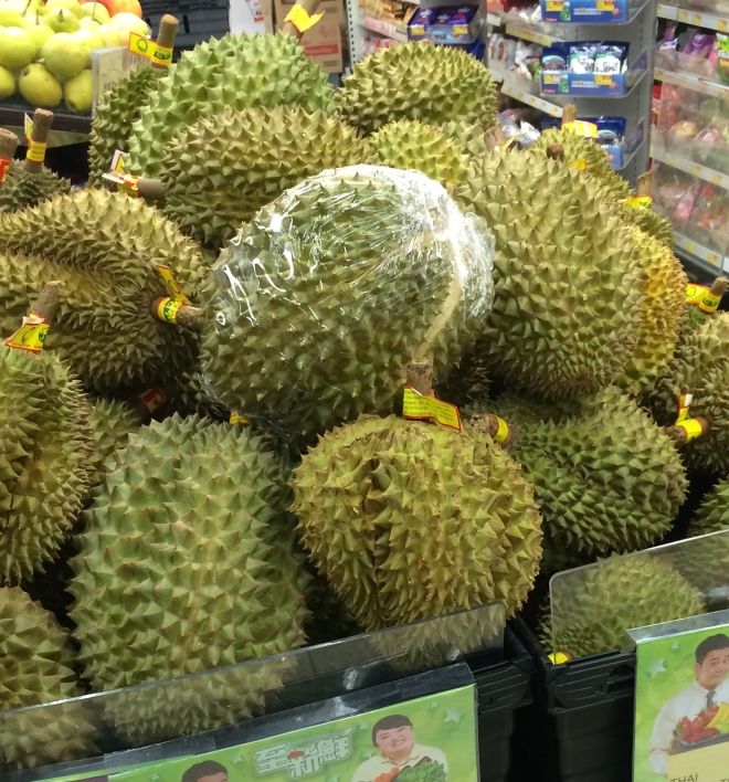 Durian: The spikes are symbolic of what the taste does to your palate